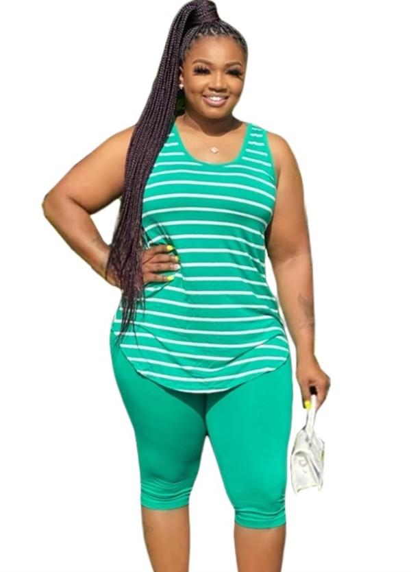 Plus Size Striped Tank Top und Plain Shorts Set