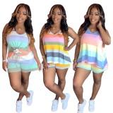 Mehrfarbig gestreiftes zweiteiliges Shorts-Set