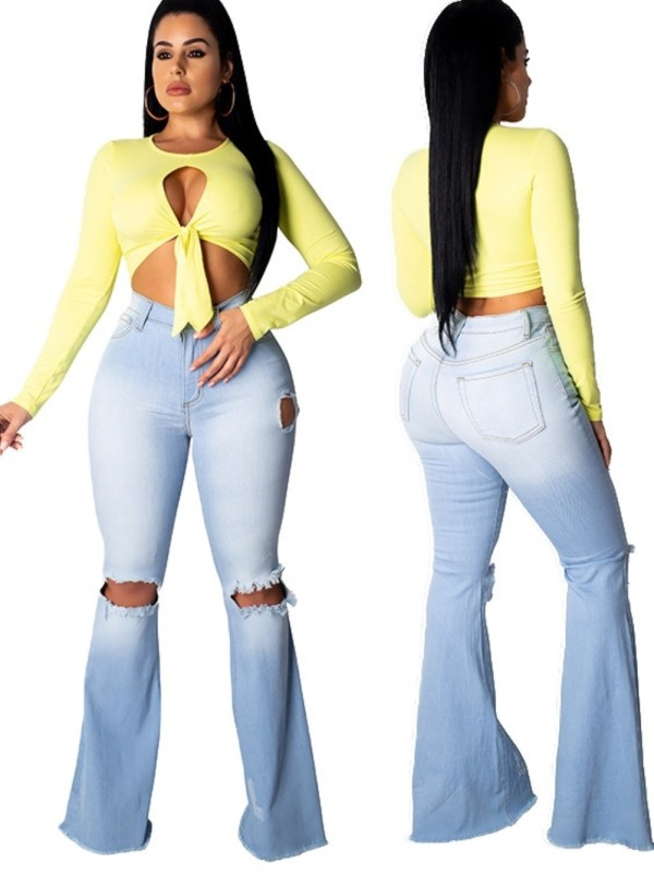 Sexy zerrissene Flare Jeans mit hoher Taille
