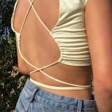 Summer Plain Color Sexy Crop Top