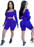 Print Sexy Langarm Bodycon Crop Top und Shorts Set