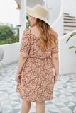 Vestido floral de verano con cuello en V talla grande