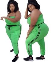 Plus size verde sem alças colheita superior e conjunto de calças