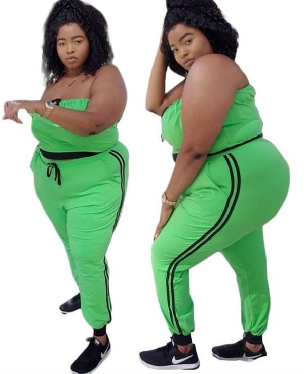 Plus Size grün trägerloses Crop Top und Hosen Set