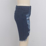 Summer High Waist Ripped Denim Shorts