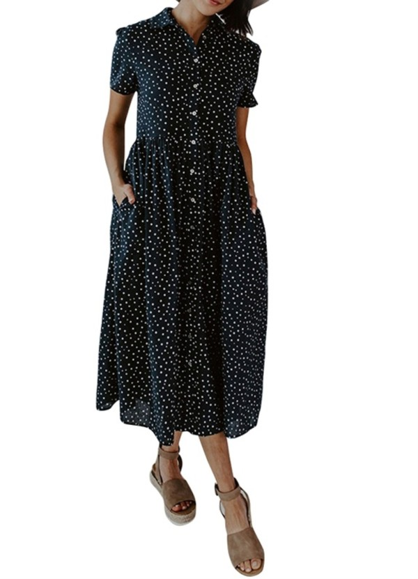 Summer Dot Print Langes Boho-Kleid