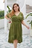 Plus Size Sommer High Low V-Ausschnitt Partykleid