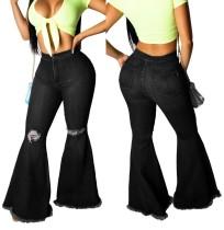 Sexy flare jeans met hoge taille en scheuren