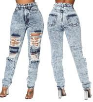 Jeans rasgados de cintura alta talla grande