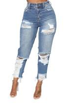 Summer High Waist Ripped beschädigte Blue Jeans