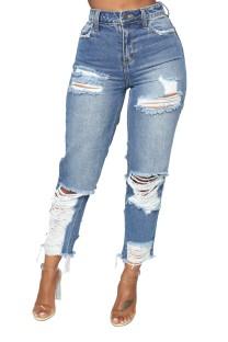Pantalones vaqueros azules rasgados de cintura alta de verano