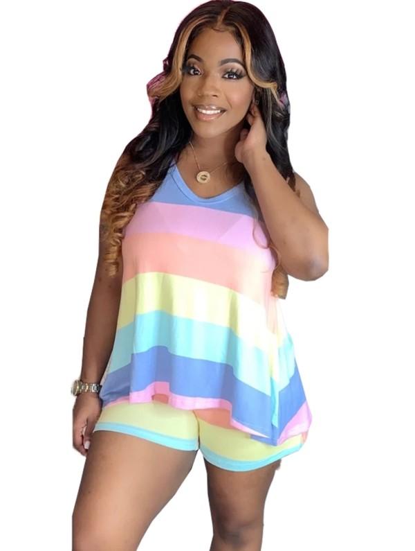 Conjunto de pantalones cortos de dos piezas a rayas multicolores