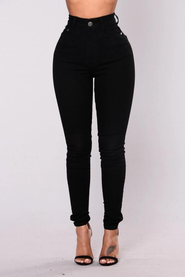 Pantalones vaqueros simples ajustados negros de cintura alta sexy