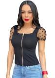 Schwarzes Sexy Fit Reißverschlusshemd mit Netzärmeln