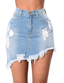 Sexy High Waist Irregular Denim Minirock