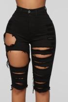 Pantalones cortos de mezclilla rasgados negros de cintura alta sexy