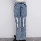 Plus Size High Waist Ripped Jeans