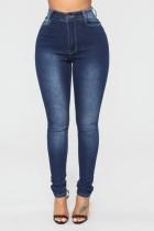 Jeans simples ajustados de cintura alta sexy