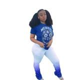 Sommer Print Shirt und Gradient Stacked Pants Set