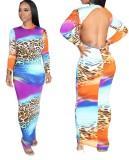 Vestido midi de manga larga con espalda descubierta sexy multicolor