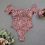 Sexy trägerlose einteilige Leoparden-Badebekleidung