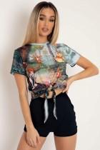 Sommer süßes Print O-Neck Knot Shirt