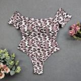 Traje de baño de leopardo de una pieza sin tirantes sexy
