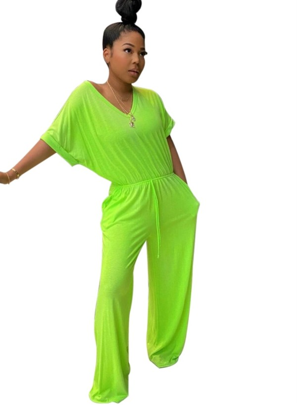 Summer Plain Color V-Ausschnitt Loose Jumpsuit