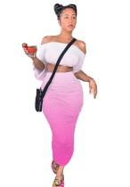 Sexy Two Piece Off Shoulder Gradient Midi Skirt Set