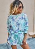 Tie Dye Langarm Zweiteiler Shorts Pyjama Set