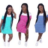 Sommer gestreiftes O-Neck Shirt Kleid