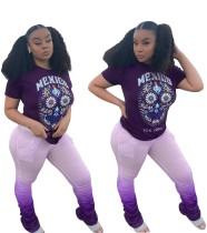 Summer Print Shirt and Gradient Stacked Pants Set