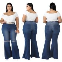 Pantalones de jean acampanados de cintura alta y talla grande