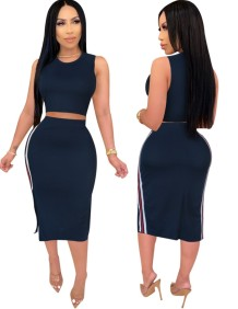 Summer Sexy Bodycon Two Piece Midi Skirt Set