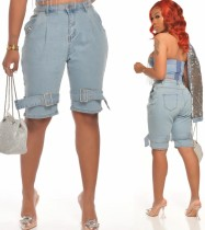 Pantalones cortos de mezclilla de cintura alta azul claro