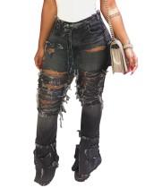 Pantaloni alla moda strappati Jean a vita alta