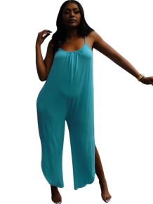 Solid Color Halter Slit Loose Jumpsuit