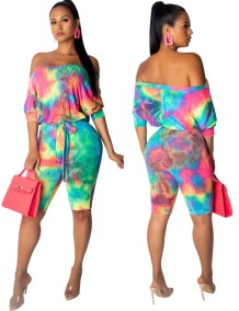 Tie Dye Off the Shoulder Rompers with Belt