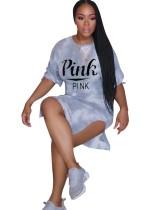Tie Dye Print Round Neck Slit Shirt Dress