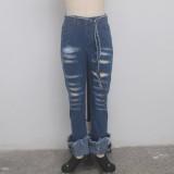 Stilvolle Jeanshose mit hoher Taille