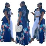 Lässiges langes Kleid mit afrikanischem Blumendruck