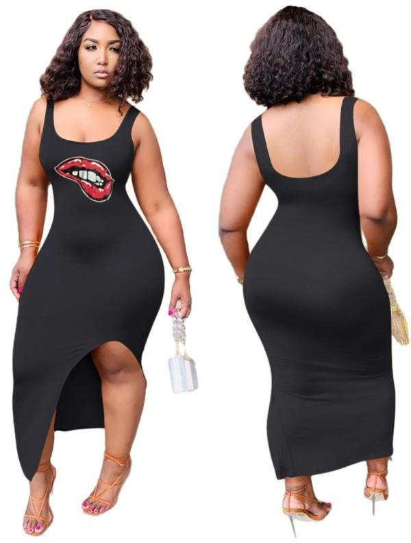 Vestido largo sin mangas con abertura y estampado sexy negro