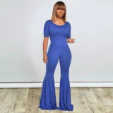 Solid Color Round Neck Flare Jumpsuit