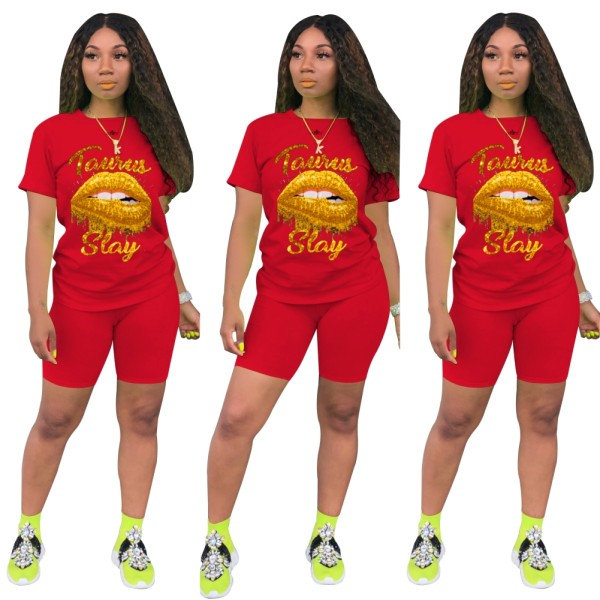 Summer Lips Zweiteiliges Casual Shorts Set