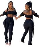 Conjunto de pantalón corto de cintura alta sexy y de color liso