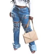 Pantalon en jean déchiré taille haute élégant
