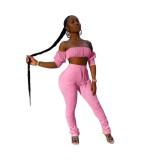 Solid Color Sexy Crop Top und gestapelte High Waist Pants Set