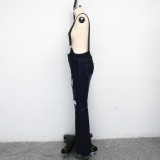 Blue Suspender Ripped Flare Jeans Hose
