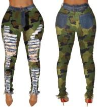 Pantalon Jean Déchiré Imprimé Taille Haute Camou
