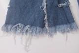 Pantalones de jean rasgados de cintura alta con estilo